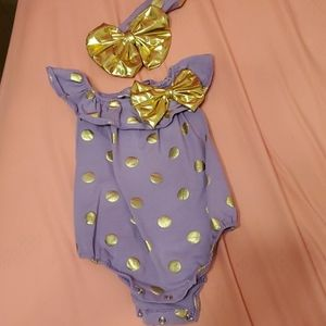Purple and gold onesie with handband bow